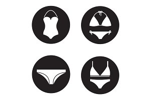 Women's underwear icons set
