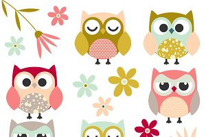 Cute Owl & Flower Clipart Set