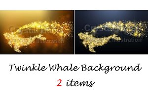 Twinkle whale background set