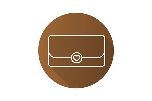 Clutch bag flat linear long shadow icon