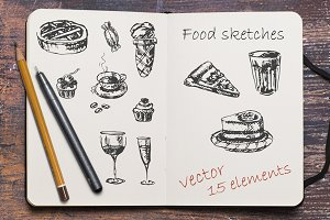 Sketches of sweets, pastries