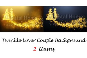 Twinkle lover couple background set