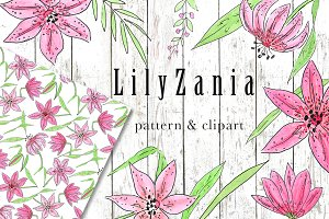 SALE LILYZANIA clipart & pattern set