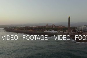 Resort and Maspalomas Lighthouse on Gran Canaria, aerial