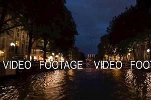 Timelapse of traveling on Amsterdam canals at night