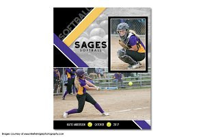 Softball Memory Mate Template - MM11