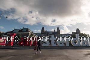 Timelapse of visitors at Amsterdam slogan, Netherlands