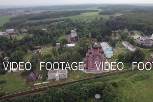 Lukino Village and Cathedral of Ascension, aerial view