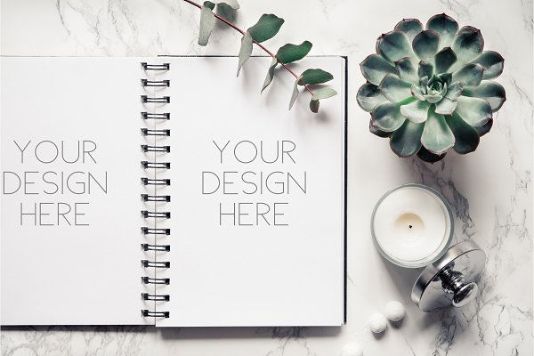 Notepad mockup with succulents.