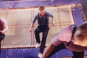 Jumping on trampoline in the circus
