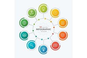 Presentation circle chart template with 10 options. Editable cha