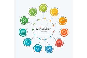 Presentation circle chart template with 11 options. Editable cha