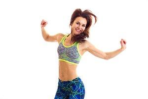 Sportive woman jumpimg