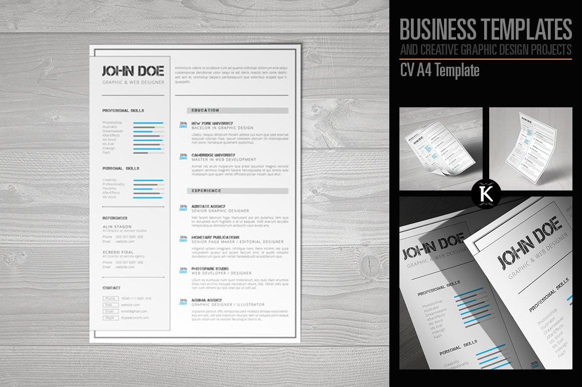 CV A4 Template ~ Templates ~ Creative Market