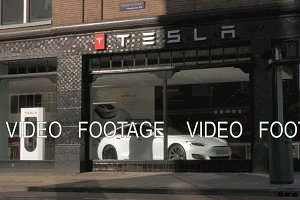 Tesla Store in the street of Amsterdam