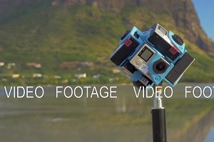 Six GoPro cameras shooting 360 degrees nature scene