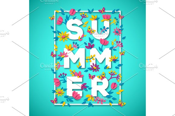 Summer Typography Design With White Paper Cut Text