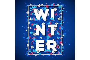 Winter typography design with white paper cut text