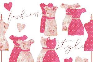 Vintage Dresses & Mannequin Clipart