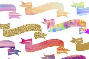 Banner Clipart Set in Rainbow & Gold