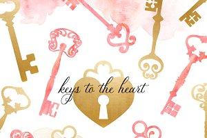 Key & Keyhole Clipart Set