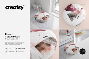 Round Cotton Pillow Mockup Set