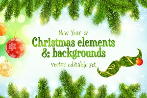 Christmas elements & backgrounds set