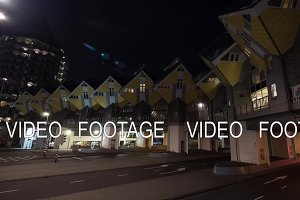 Timelapse of car traffic on street with Cube Houses, Rotterdam