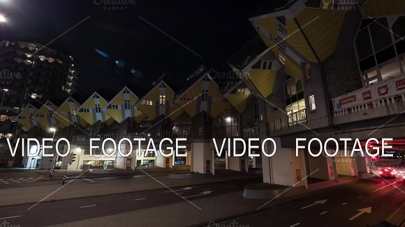 Timelapse Of Car Traffic On Street With Cube Houses Rotterdam