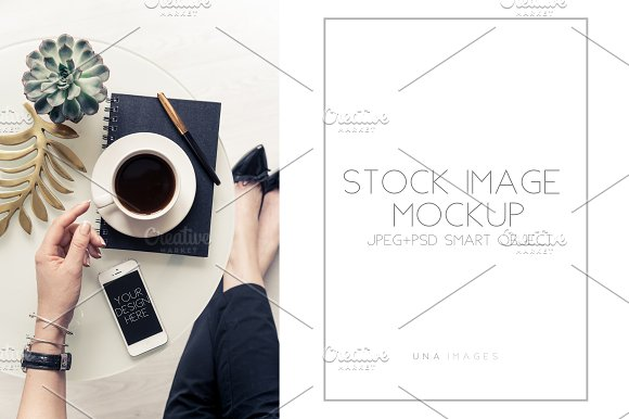 Phone Mockup With Hands And Coffee