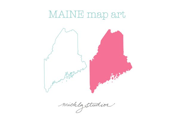 VECTOR & PNG Maine map art