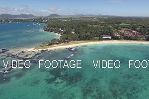 Scene of Mauritius coastal line, aerial view