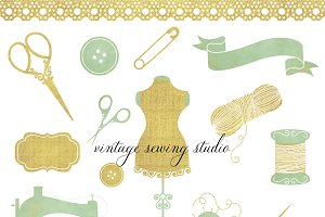 Vintage Sewing & Seamstress Clipart