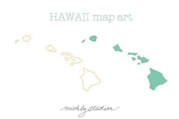 Hawaii Vector Png Map Art Illustrations Creative Market