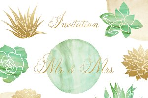 Succulent Wedding Clipart Set
