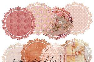Vintage Pink Doily Clipart Set