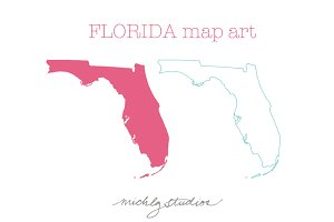 Florida VECTOR & PNG map art