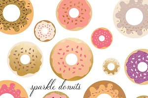 Donut Clipart Set With Gold