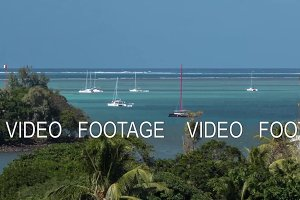 Timelapse of sailing yachts neat the coastline, Mauritius