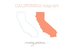 California VECTOR & PNG map art