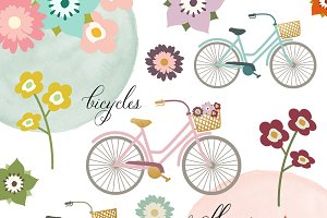 Bicycle & Flower Clipart Set