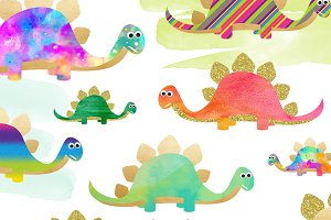 Rainbow Dinosaur Clipart Set