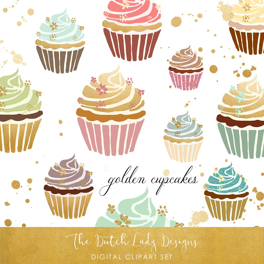 Cupcake Clipart In Gold & Pastel ~ Illustrations ...