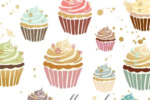 Cupcake Clipart In Gold & Pastel