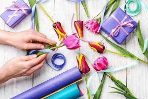 tulips and preparation of gifts