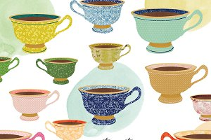 Vintage Teacup Clipart Set