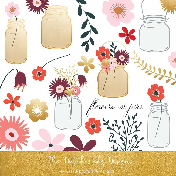 Flowers Mason Jar Clipart Set