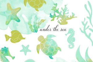 Sea Life Clipart Set In Watercolor