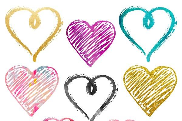 Funky Valentine Heart Clipart Set Custom Designed Illustrations Creative Market
