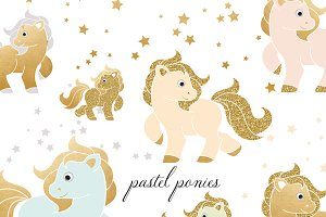 Pastel & Golden Ponies Clipart Set